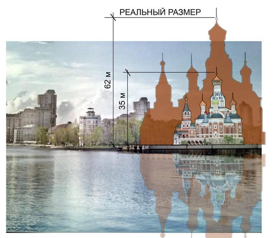 Ещё в 2016 году архитектор Владимир Каганович, говорил, что  истинный размер храма будет больше,  чем его сначала рисовали