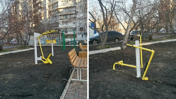 Тренажеры в парке в «Солнечном» сломали спустя полгода после установки