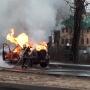 На Ленинградском проспекте загорелся едущий автомобиль
