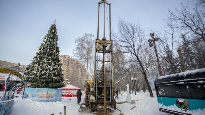 В Центральном парке начали бурить 13-метровые скважины под новый фонтан