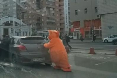В Перми оранжевый кот-талисман «Галамарта» помог водителю вытолкать машину