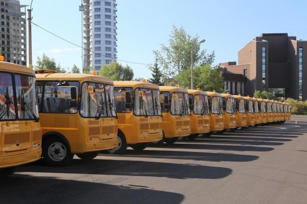 Автобусы покрашены в желтый цвет, как в зарубежных фильмах