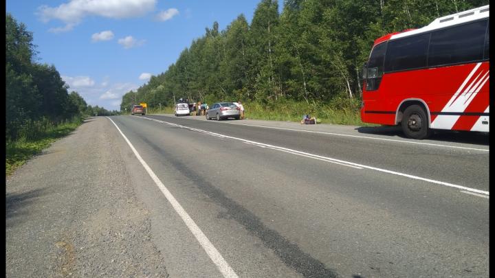 На трассе в Башкирии вспыхнул пассажирский автобус