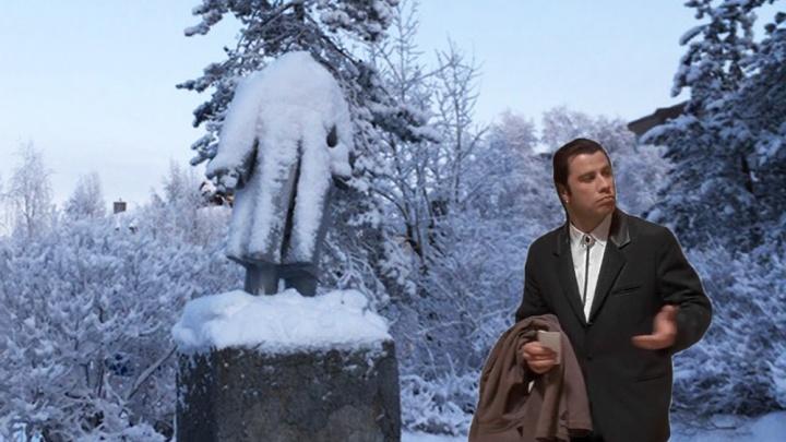 В Архангельске из-за снега потеряли голову Ленина