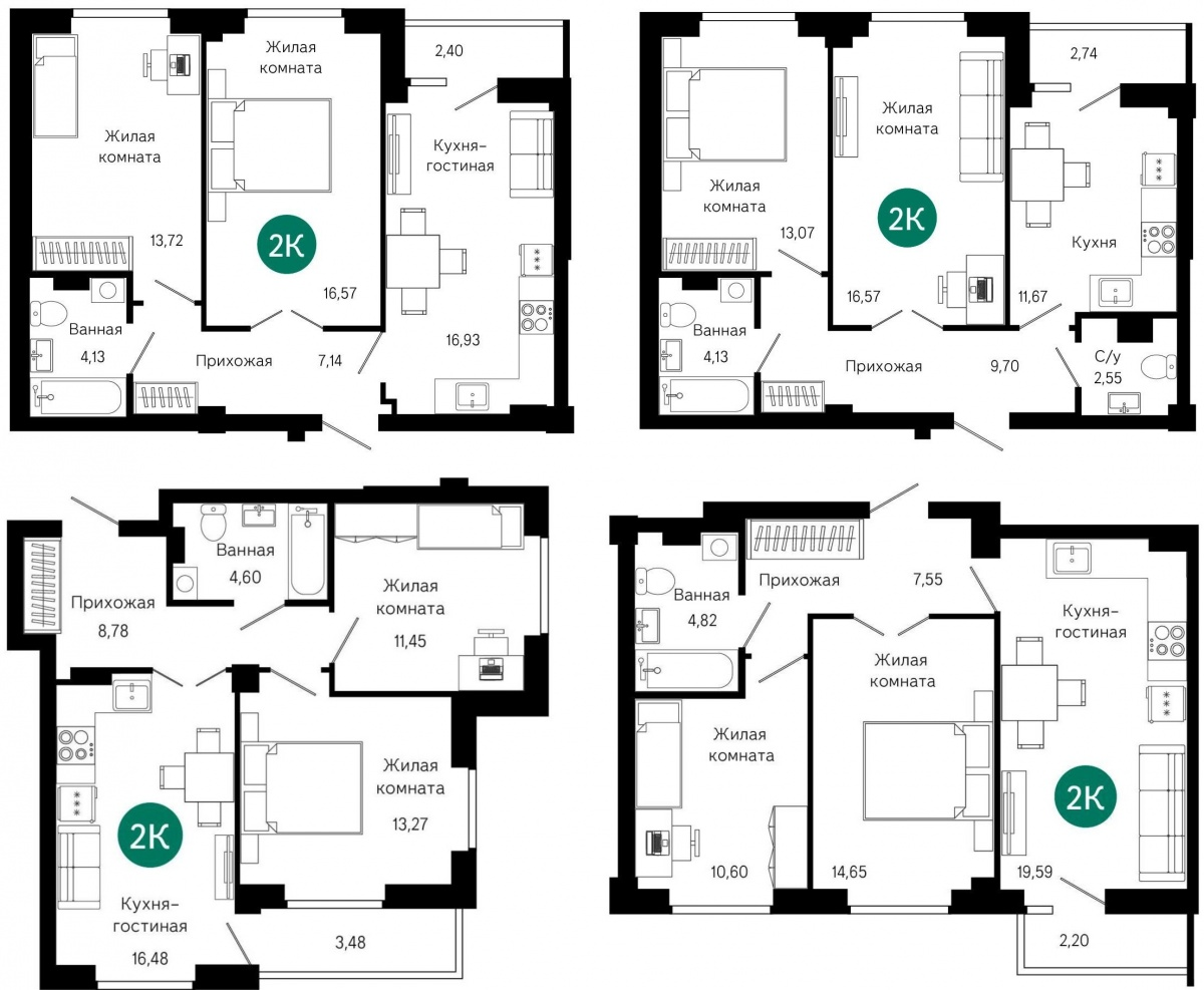Такие квартиры одинаково востребованы семьями с одним ребенком и двумя детьми