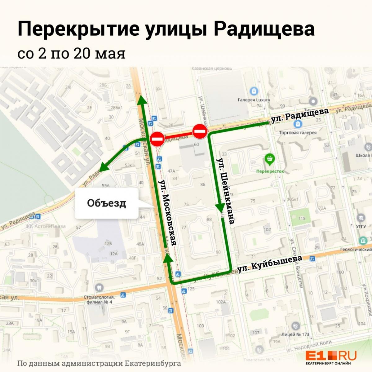 Участок улицы Радищева закроют для автомобильного движения, чтобы проложить трубы