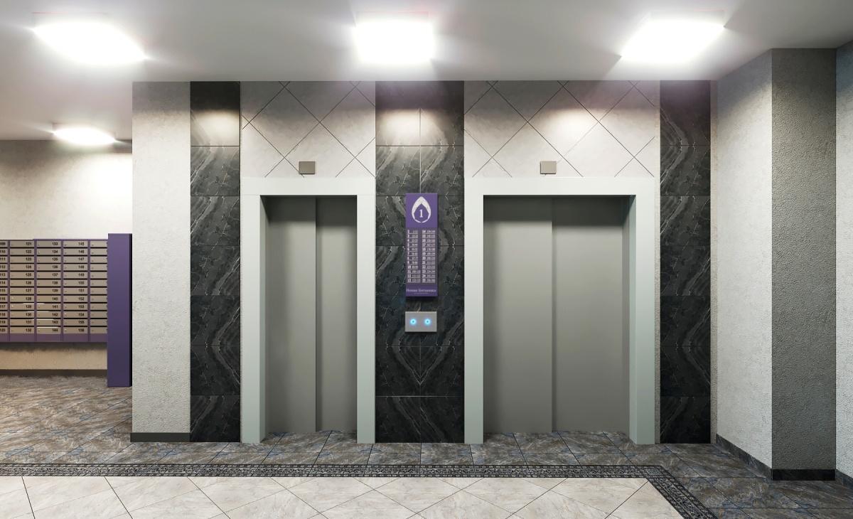 Лифтовые холлы «аметистового» дома