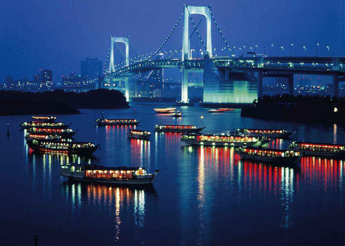 Ночной вид на Радужный мост на острове Одайба