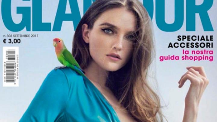 Омичка с попугаем на плече снялась для обложки журнала Glamour