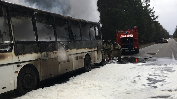 «Машина 2016 года»: в Кургане разбираются в причинах возгорания автобуса