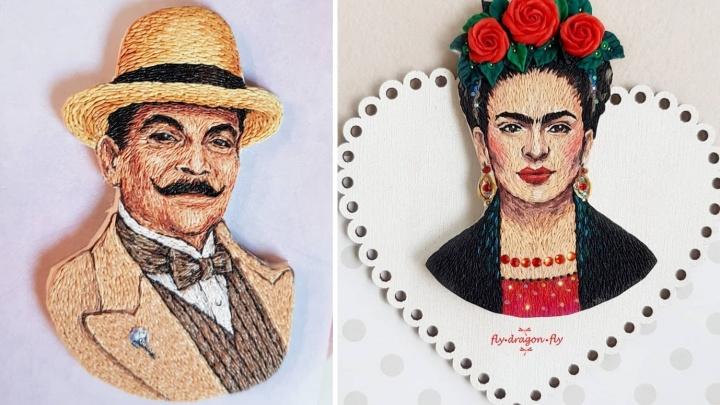 Покажи свой Instagram: омичка делает «вышитые» броши с изображением Пуаро и Фриды