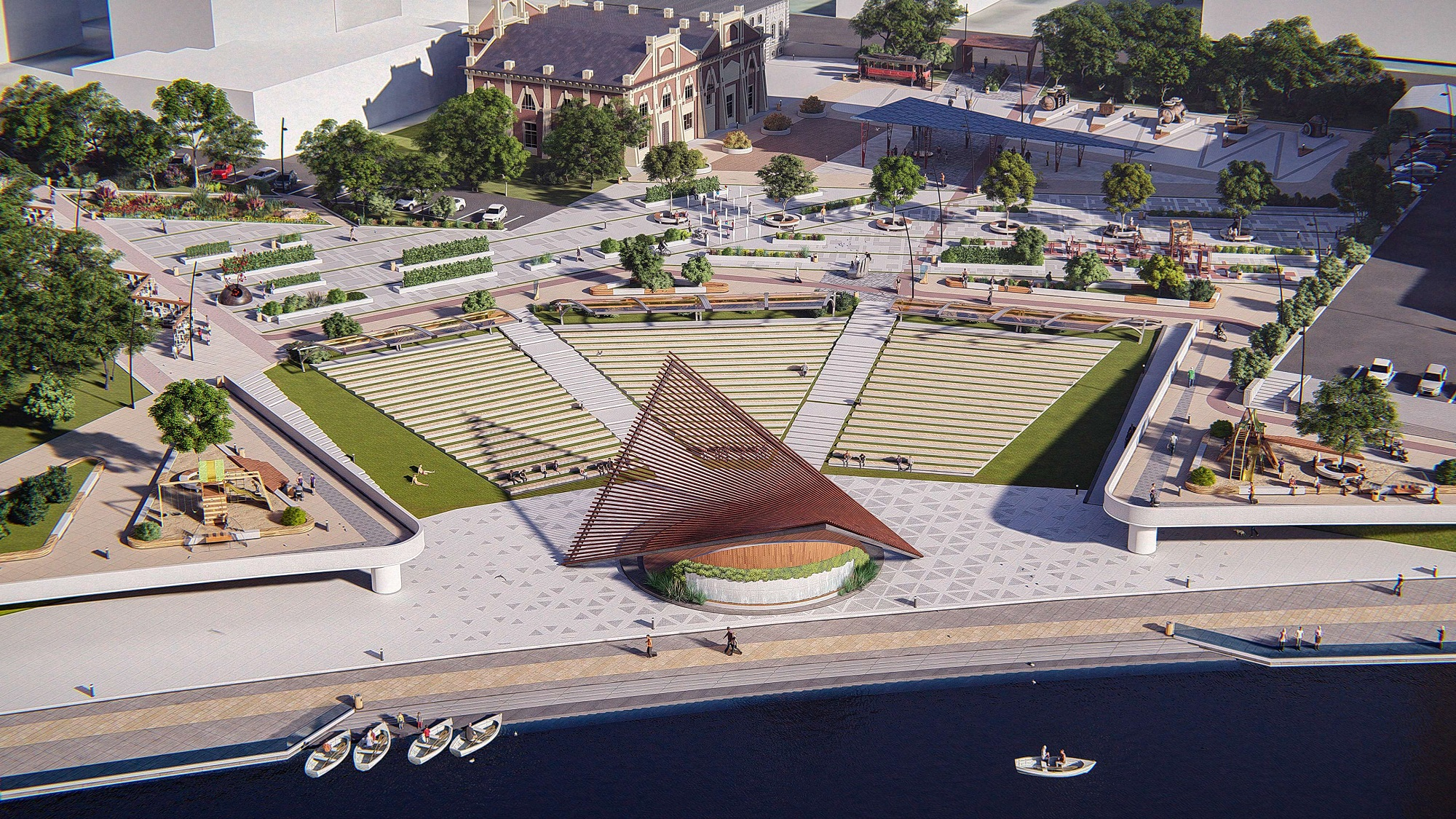 В центре набережной разместится летний театр с крытой сценой