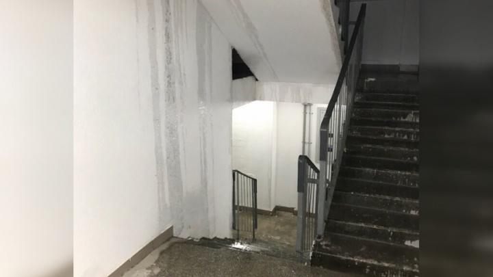 «Водопад самый настоящий»: социальный дом на Московском не выдержал первого сильного дождя
