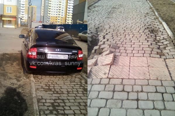 Последствия таких парковок заметны невооруженным взглядом