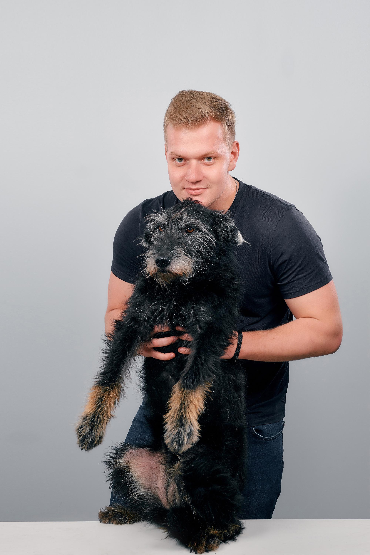 Юрий Яговкин с собакой Кубой