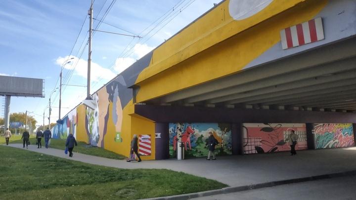 Эстакаду возле «МЕГИ» расписали огромными граффити