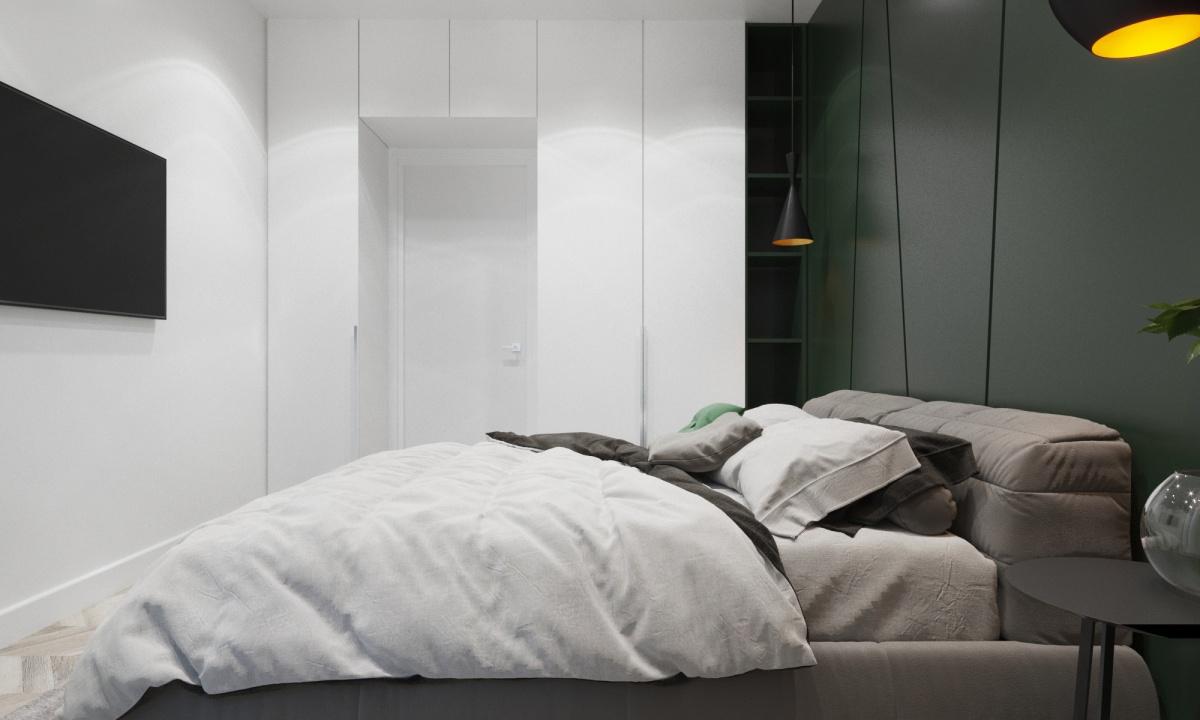 Для экономии пространства шкаф в спальне сделали «вокруг» двери