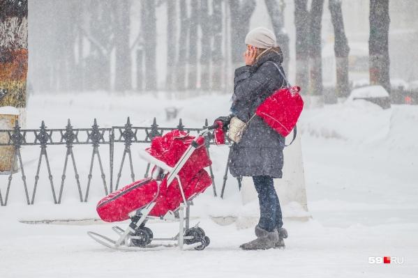 Рождаемость в Прикамье упала, поэтому мамы с санками или колясками на улицах теперь встречаются реже