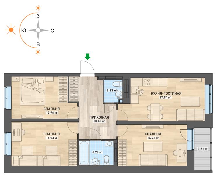 3-комнатная квартира в ЖК «Весна» (площадь 81 кв. м), стоимость — 3800000 рублей