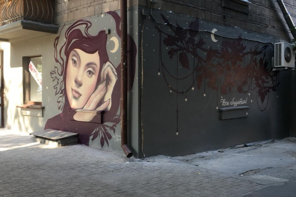 Граффити с девушкой-звездочётом появились на доме за «Галереей Новосибирск» в конце недели