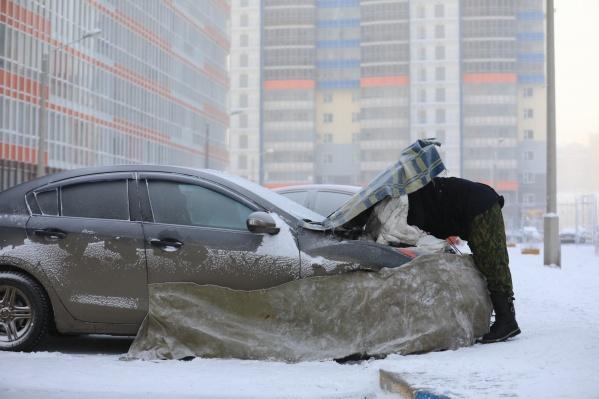 Красноярск сковал крепкий мороз