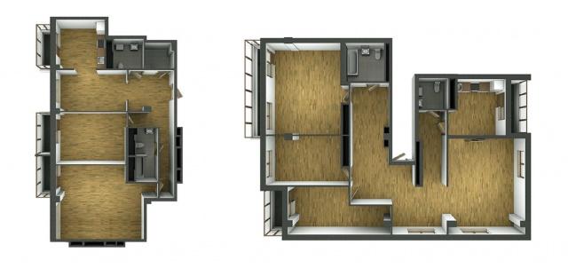 Примеры планировок трёх- и четырёхкомнатных квартир