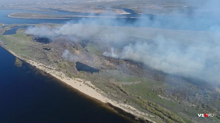 В Волгограде горит остров Денежный