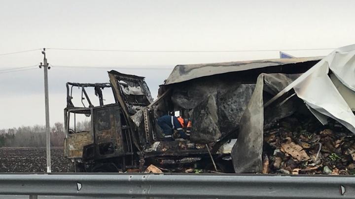 Около аэропорта Курумоч сгорела фура с бананами