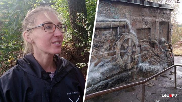 «Степные орлы и подсолнухи»: ростовская художница расписала подпорнуюстену Парамоновских складов