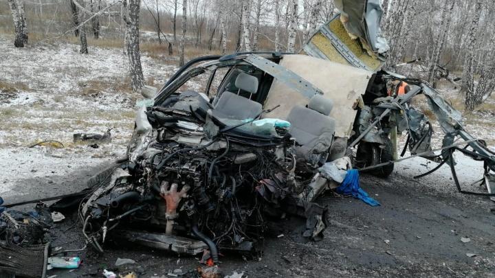 На трассе под Омском «Мазда» превратилась в груду металлолома после столкновения с грузовиком