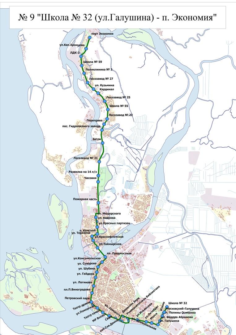 Схема измененного маршрута №9