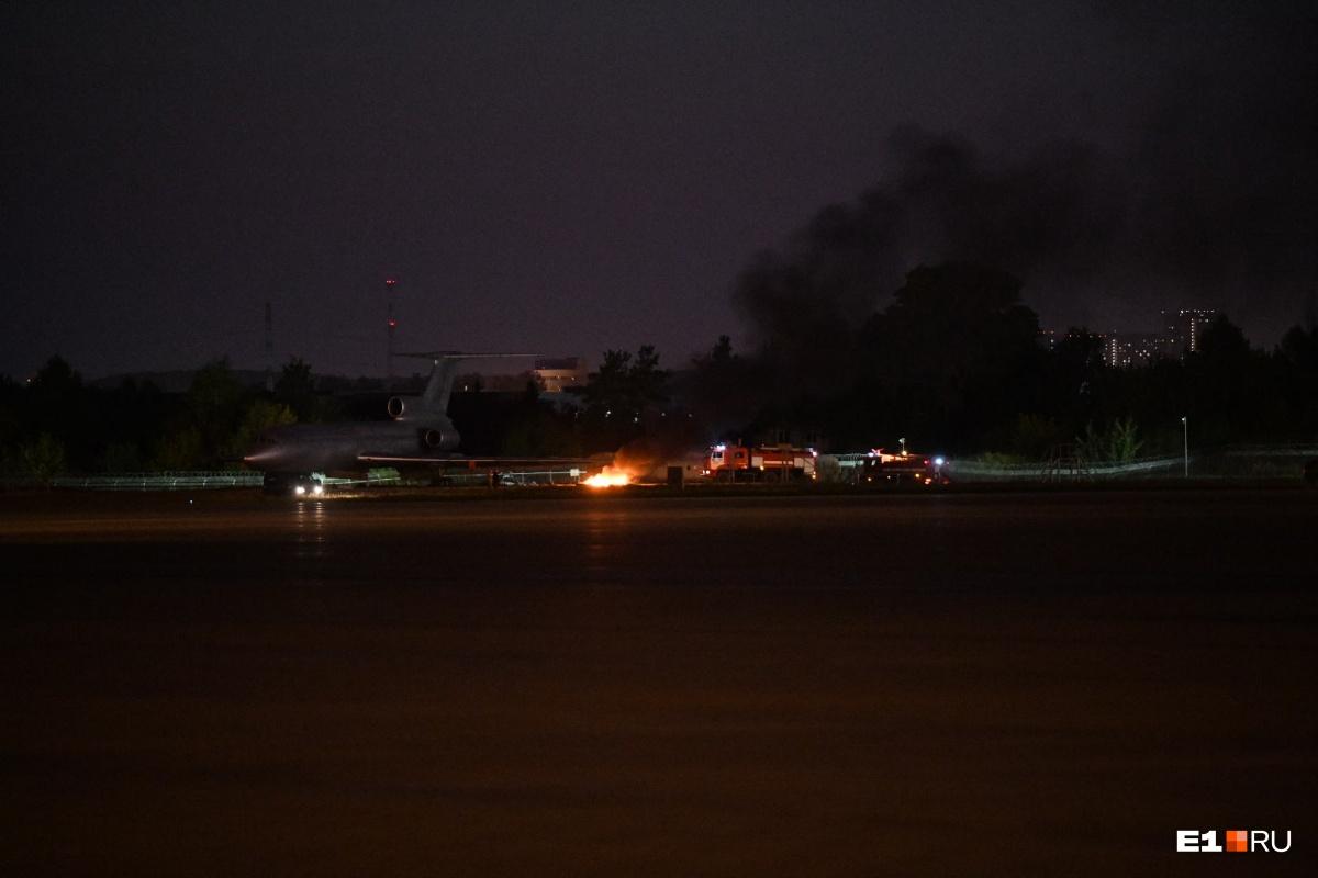 Так в Кольцово проходят пожарные учения