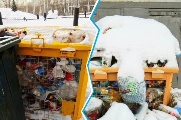 Из специальных желтых баков для пластика отходы не вывозят из-за смены оператора