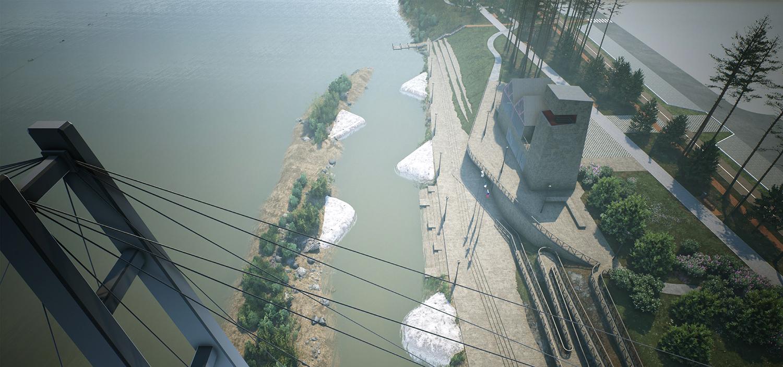 Гребной канал со слаломом и трибунами должен объединяться со спортивным кластером на другом берегу Ини — в генплане пешеходный мост уже отмечен, но пока его перспективы туманны