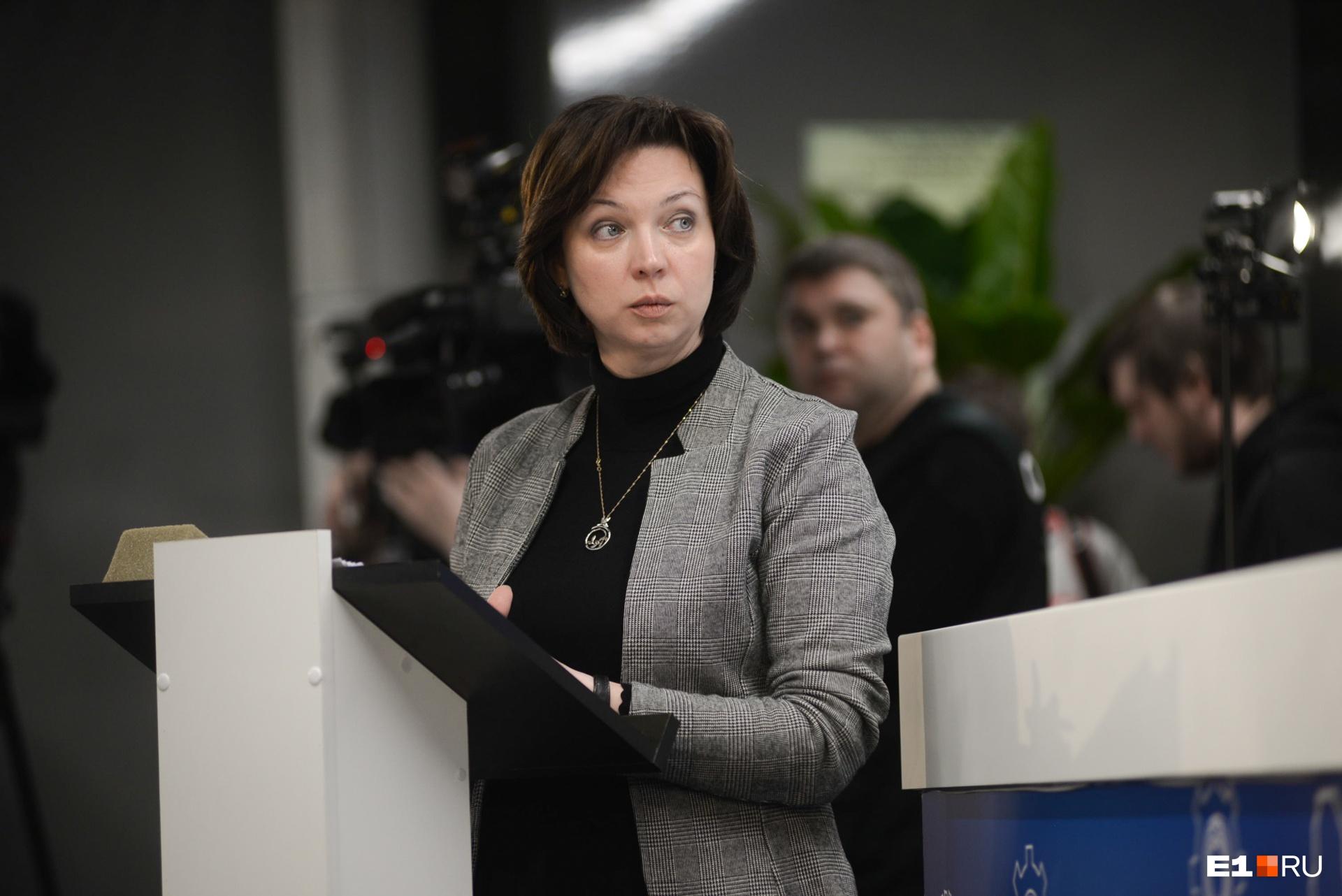 Ведущая пресс-конференции Юлия Прыткова