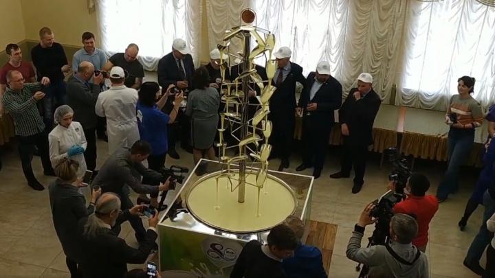 На омском заводе запустили самый большой фонтан со сгущенкой: чуть поменьше показывали Путину