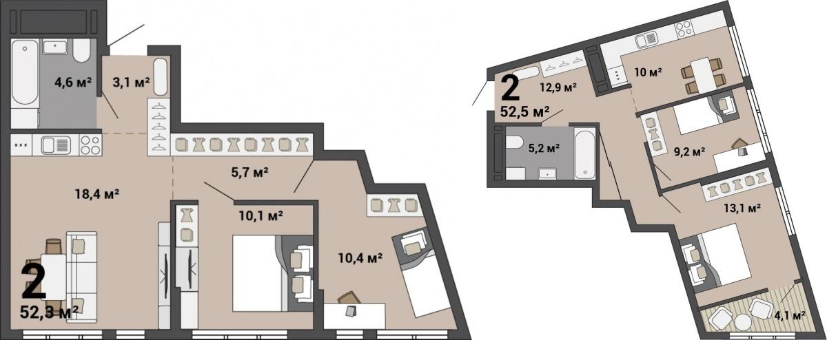 Есть двушки с классической кухней и кухней-гостиной