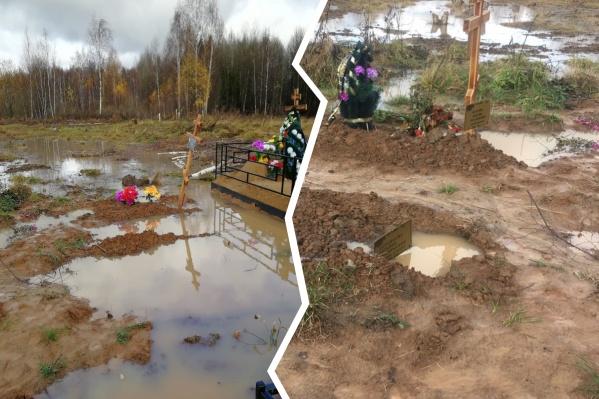 Люди делятся фотографиями затопленного кладбища в социальных сетях