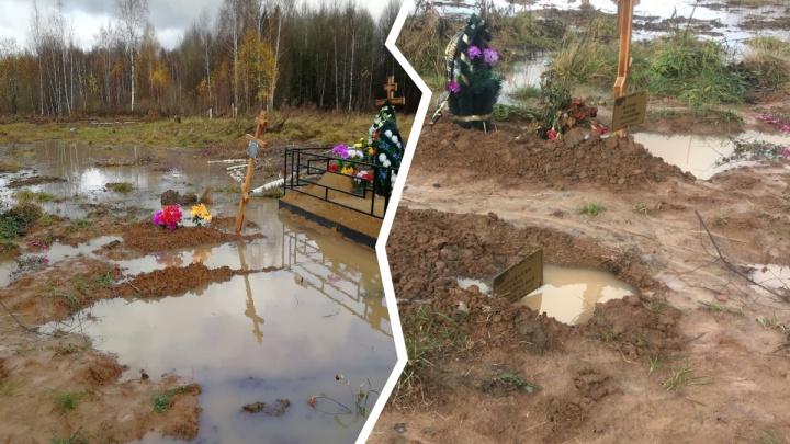 «Не найти, кто где похоронен»: жители Ярославля пожаловались на потоп на городском кладбище