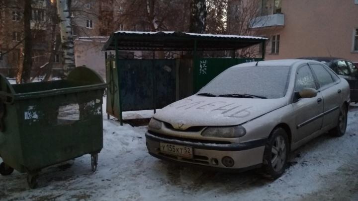Короли парковки. «Олень» у мусорных бачков и «Нива» на крыльце