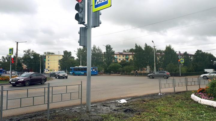 Возле светофора, который ведёт из лужи в клумбу, оборудуют пешеходную дорожку
