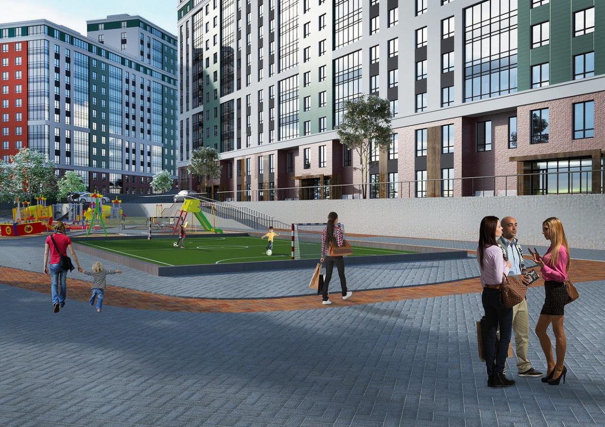 Дворы будут сообщаться с центральной набережной квартала. В них появятся качели и лазалки для детей, уровневое озеленение, скамейки и уютное фонарное освещение