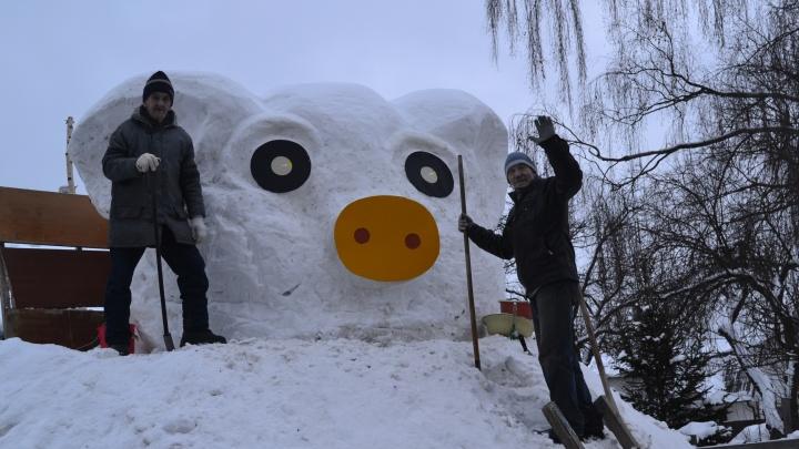 Ярославец собрал из снега четырёхметровую свинью-горку: где стоит скульптура