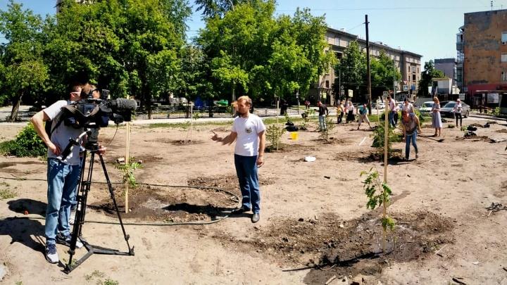 Новосибирцы высадили деревья на скандальной стройке бизнес-центра на Советской