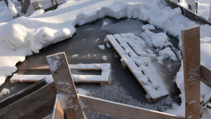 В пригороде Тюмени спасли бабушку с трёхлетним внуком, которые провалились под лёд