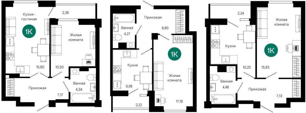 Галерея планировок однокомнатных квартир. Вне зависимости от типа «однушки» в каждой из них обязательно есть большая прихожая от 7 кв. м с нишей под гардеробную