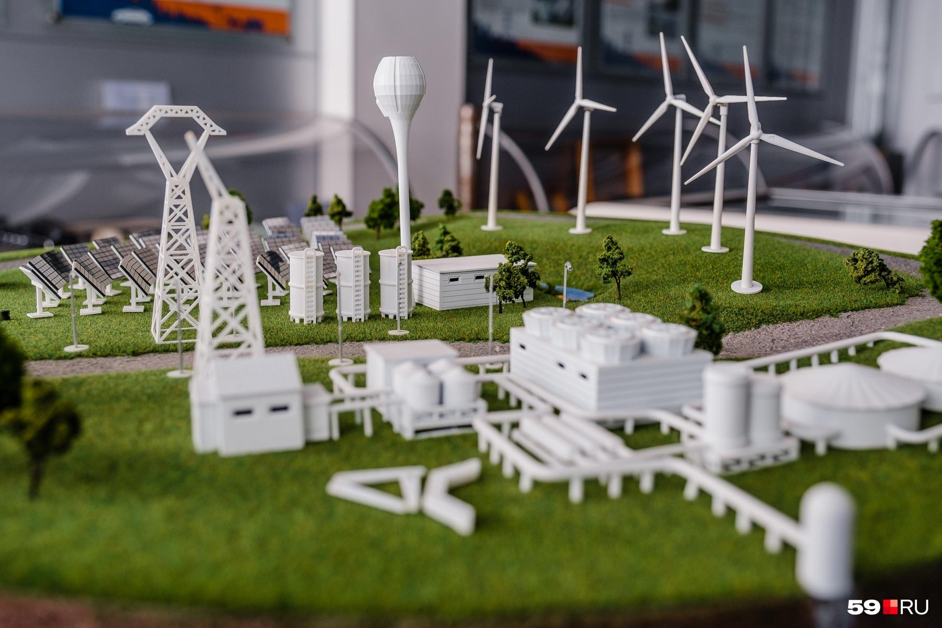 На территории станции есть маленький музей с моделями альтернативных источников энергии