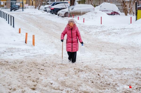 К лестницам и родникам было не подойти из-за снежной каши