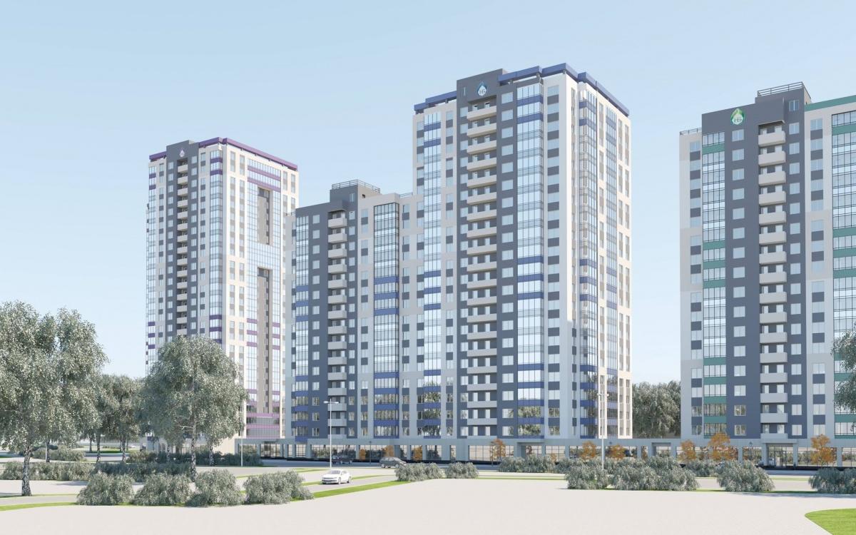 Этим летом на Ботанике будет сдан ещё один дом — «сапфировая» многоэтажка II очереди нового жилого квартала на Крестинского