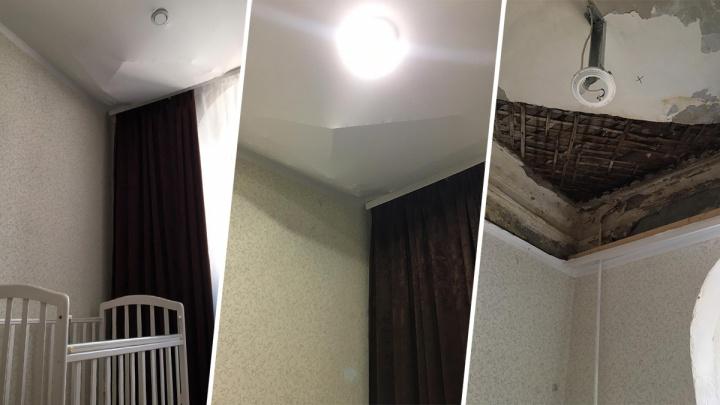 В жилом доме в Уфе над кроваткой годовалого ребенка обрушился потолок